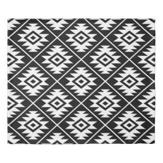 Aztec Symbol Stylized Big Ptn White on Black Duvet Cover