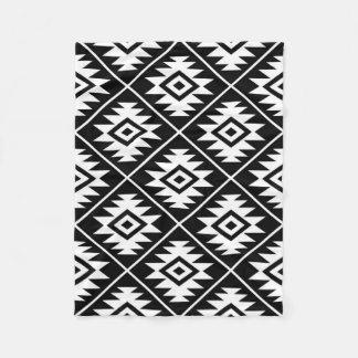 Aztec Symbol Stylized Big Ptn White on Black Fleece Blanket
