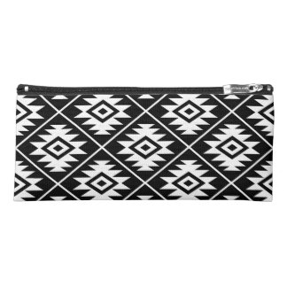 Aztec Symbol Stylized Big Ptn White on Black Pencil Case