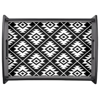 Aztec Symbol Stylized Big Ptn White on Black Serving Tray
