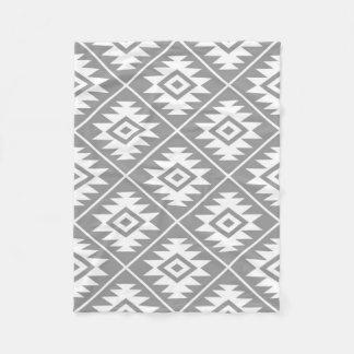 Aztec Symbol Stylized Big Ptn White on Gray Fleece Blanket
