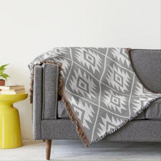 Aztec Symbol Stylized Big Ptn White on Gray Throw Blanket