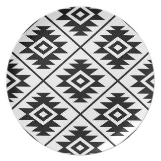 Aztec Symbol Stylized Lg Ptn Black on White Plate