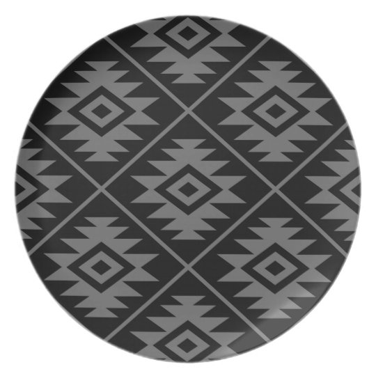 Aztec Symbol Stylized Lg Ptn Grey on Black Plate