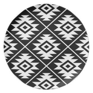 Aztec Symbol Stylized Lg Ptn White on Black Plate