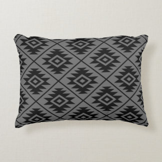 Aztec Symbol Stylized Pattern Black on Gray Accent Pillow