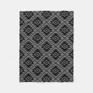 Aztec Symbol Stylized Pattern Black on Gray Fleece Blanket