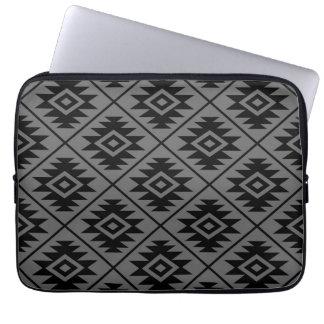 Aztec Symbol Stylized Pattern Black on Gray Laptop Sleeve