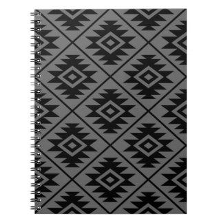 Aztec Symbol Stylized Pattern Black on Gray Notebooks