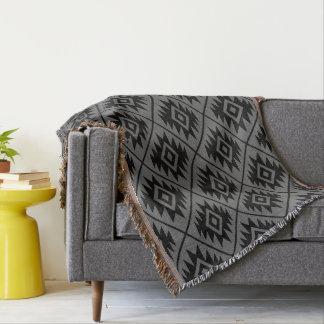 Aztec Symbol Stylized Pattern Black on Gray Throw Blanket