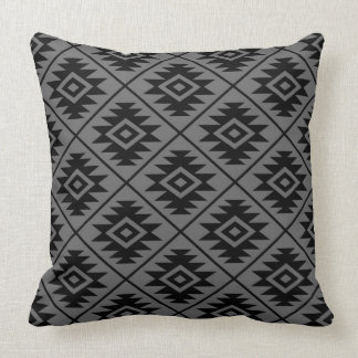 Aztec Symbol Stylized Pattern Black on Gray Throw Pillow