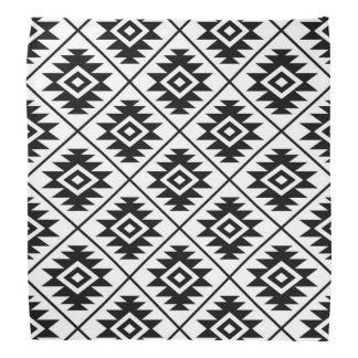 Aztec Symbol Stylized Pattern Black on White Bandana