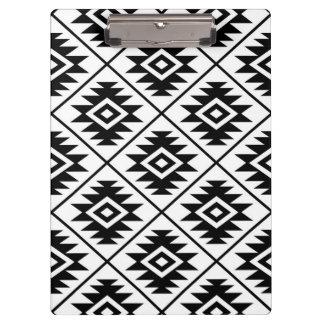 Aztec Symbol Stylized Pattern Black on White Clipboard