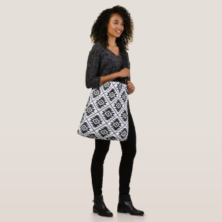Aztec Symbol Stylized Pattern Black on White Crossbody Bag