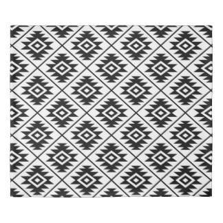 Aztec Symbol Stylized Pattern Black on White Duvet Cover