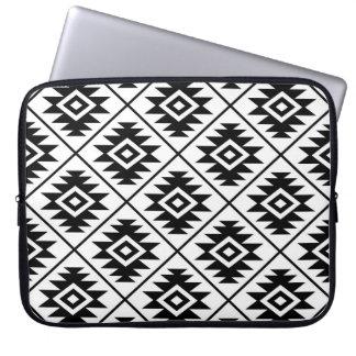 Aztec Symbol Stylized Pattern Black on White Laptop Sleeve