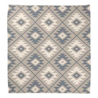 Aztec Symbol Stylized Pattern Blue Cream Sand Bandana