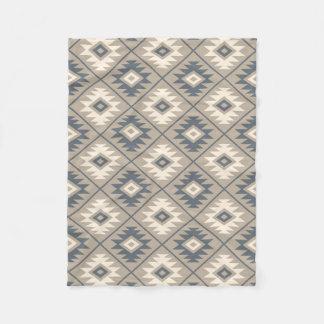 Aztec Symbol Stylized Pattern Blue Cream Sand Fleece Blanket