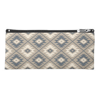 Aztec Symbol Stylized Pattern Blue Cream Sand Pencil Case