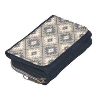 Aztec Symbol Stylized Pattern Blue Cream Sand Wallets