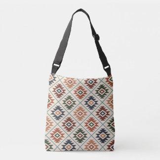 Aztec Symbol Stylized Pattern Color Mix Crossbody Bag