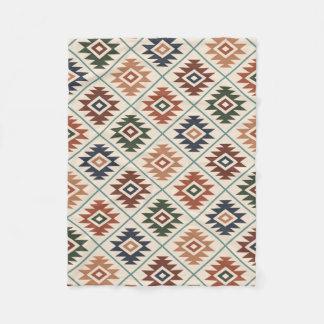 Aztec Symbol Stylized Pattern Color Mix Fleece Blanket