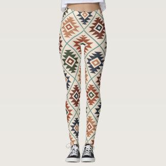 Aztec Symbol Stylized Pattern Color Mix Leggings