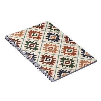 Aztec Symbol Stylized Pattern Color Mix Notebook