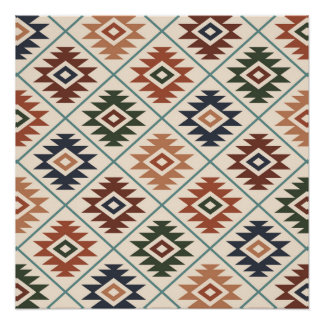 Aztec Symbol Stylized Pattern Color Mix Poster