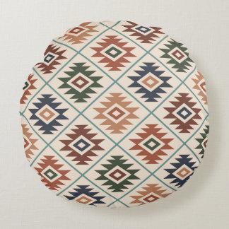 Aztec Symbol Stylized Pattern Color Mix Round Pillow