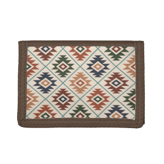 Aztec Symbol Stylized Pattern Color Mix Trifold Wallet
