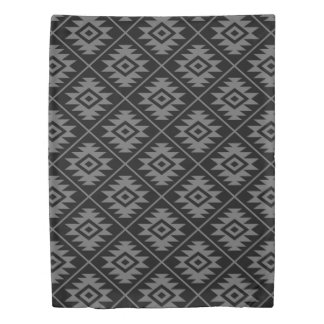 Aztec Symbol Stylized Pattern Gray on Black Duvet Cover