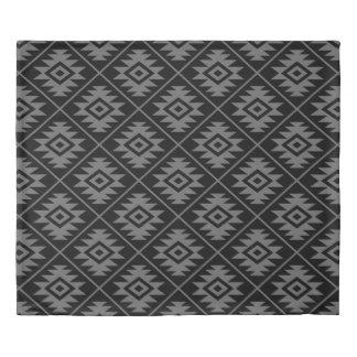 Aztec Symbol Stylized Pattern Gray on Black Duvet Cover