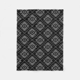Aztec Symbol Stylized Pattern Gray on Black Fleece Blanket