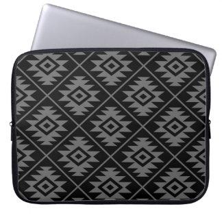 Aztec Symbol Stylized Pattern Gray on Black Laptop Sleeve