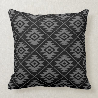 Aztec Symbol Stylized Pattern Gray on Black Throw Pillow