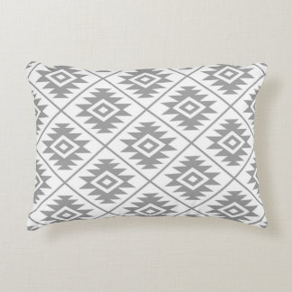 Aztec Symbol Stylized Pattern Gray on White Accent Pillow