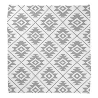 Aztec Symbol Stylized Pattern Gray on White Bandana