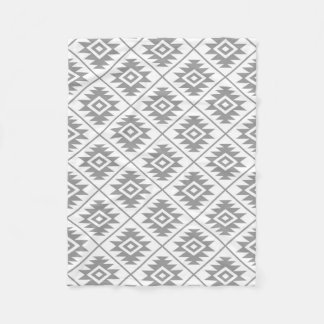 Aztec Symbol Stylized Pattern Gray on White Fleece Blanket
