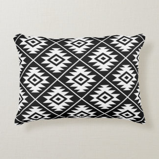 Aztec Symbol Stylized Pattern White on Black Accent Pillow