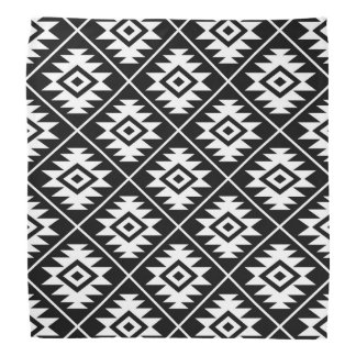Aztec Symbol Stylized Pattern White on Black Bandana