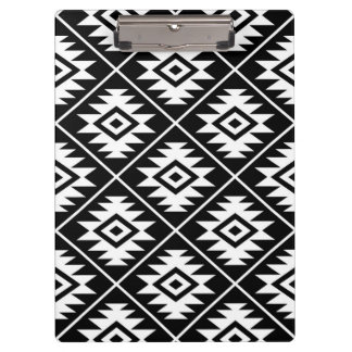 Aztec Symbol Stylized Pattern White on Black Clipboard