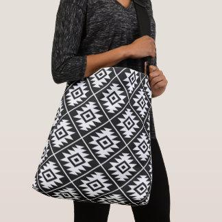 Aztec Symbol Stylized Pattern White on Black Crossbody Bag