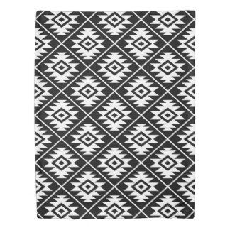 Aztec Symbol Stylized Pattern White on Black Duvet Cover