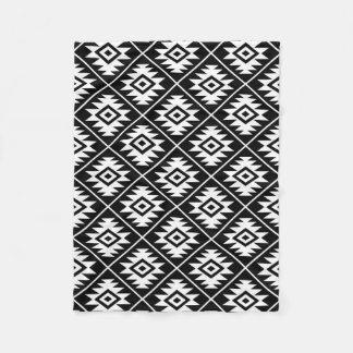 Aztec Symbol Stylized Pattern White on Black Fleece Blanket