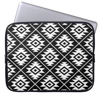 Aztec Symbol Stylized Pattern White on Black Laptop Sleeve