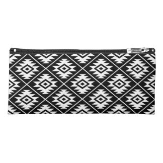 Aztec Symbol Stylized Pattern White on Black Pencil Case