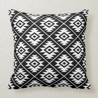 Aztec Symbol Stylized Pattern White on Black Throw Pillow