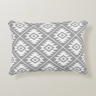 Aztec Symbol Stylized Pattern White on Gray Decorative Pillow