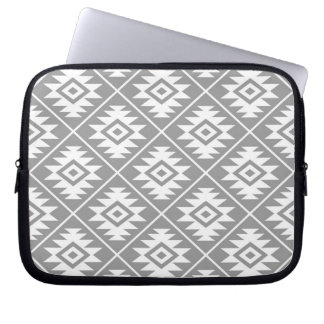 Aztec Symbol Stylized Pattern White on Gray Laptop Sleeve